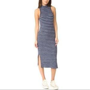 Splendid Small Mock Neck Midi Slit Striped Dress